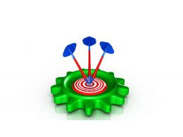 0914 Target Gear With Colored Dart Pins Image Graphic Stock Photo