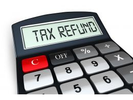 0914 Tax Refund Text On Display Of Calculator Stock Photo