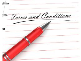 0914 Terms And Conditions Text On Notebook With Pen Stock Photo