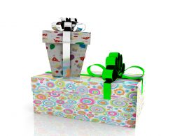 0914 Textured Birthday Gifts With Silver Green Ribbon Stock Photo