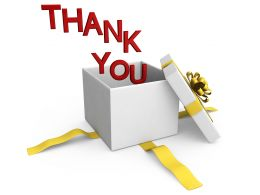 0914 Thank You Words Coming Out Of Gift Box Stock Photo