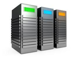 0914 Three Computer Servers At Workstation Stock Photo