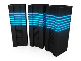0914 Three Computer Servers On White Background For Database Stock Photo
