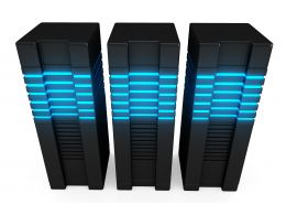 0914 Three Connected Computer Servers For Network Stock Photo