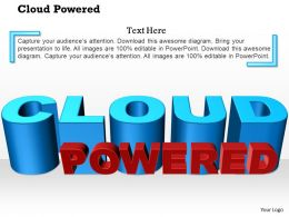 0914 Three Dimensional Cloud Powered Text Show On Flat Surface Ppt Slide