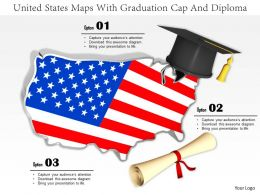 0914 United States Maps With Graduation Cap And Diploma Image Slide Image Graphics For Powerpoint