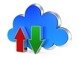 0914 Upload And Download Arrows With Blue Cloud Stock Photo