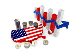 0914 Us Map With Bar Graph And Coins For Financial Reports Stock Photo