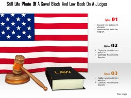 0914 Usa Flag With Law Book And Judgment Hammer Image Graphics For Powerpoint