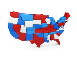 0914 Usa Map With Red Blue And White Blocks Stock Photo