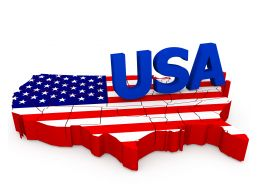 0914 Usa Text On American Flag In Map Style Stock Photo