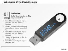 0914 Usb Thumbdrive Flash Memory Storage Clip Art 4 GB Ppt Slide