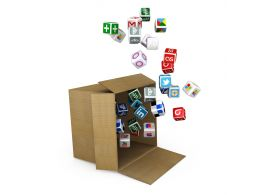 0914 Web And Mobile Icon Flying Out Of Box Stock Photo