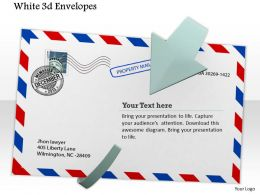 0914 White 3d Envelope Enclosed With Arrow Image Graphics For Powerpoint