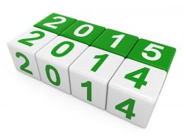 0914 White And Green Cubes With 2014 And 2015 For New Year Stock Photo