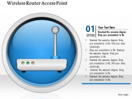 0914 Wireless Router Access Point Icon On Internet Button Ppt Slide
