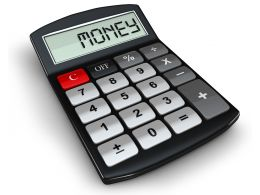 0914 Word Money In Digital Letters On The Display Of Calculator Stock Photo