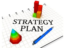 0914 Word Of Strategy Plan And Tools Stock Photo