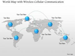 0914 World Map With Wireless Cellular Communication Hop Point To Point Ppt Slide