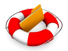 0914 Yellow Folder Icon With Life Saver Stock Photo