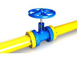0914 Yellow Water Supply Pipeline With Blue Valve Stock Photo