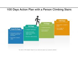 100 Days Action Plan With A Person Climbing Stairs