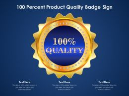 100 Percent Product Quality Badge Sign