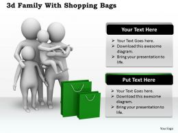 1013 3d Family With Shopping Bags Ppt Graphics Icons Powerpoint
