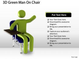 1013 3D Green Man On Chair Ppt Graphics Icons Powerpoint