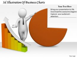 1013 3d Illustration Of Business Charts Ppt Graphics Icons Powerpoint