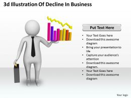 1013 3d Illustration Of Decline In Business Ppt Graphics Icons Powerpoint