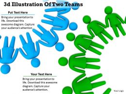 1013 3d Illustration Of Two Teams Ppt Graphics Icons Powerpoint