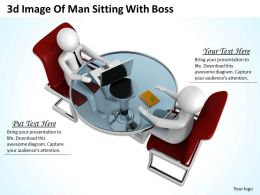 1013 3d Image Of Man Sitting With Boss Ppt Graphics Icons Powerpoint