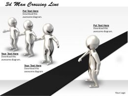 1013 3d Man Crossing Line Ppt Graphics Icons Powerpoint