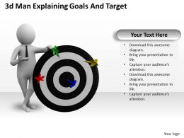 1013 3d Man Explaining Goals And Target Ppt Graphics Icons Powerpoint