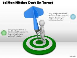 1013 3d Man Hitting Dart On Target Ppt Graphics Icons Powerpoint
