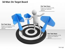1013 3d Man On Target Board Ppt Graphics Icons Powerpoint