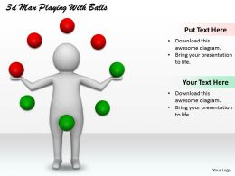 1013 3d Man Playing With Balls Ppt Graphics Icons Powerpoint