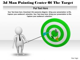 1013 3d Man Pointing Center Of The Target Ppt Graphics Icons Powerpoint
