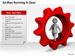 1013 3d Man Running In Gear Ppt Graphics Icons Powerpoint