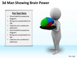 1013 3d Man Showing Brain Power Ppt Graphics Icons Powerpoint