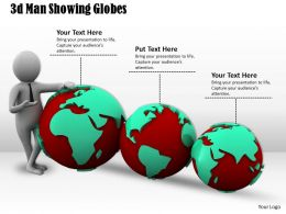 1013 3d Man Showing Globes Ppt Graphics Icons Powerpoint