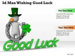 1013 3d Man Wishing Good Luck Ppt Graphics Icons Powerpoint