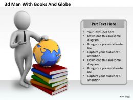 1013 3d Man With Books And Globe Ppt Graphics Icons Powerpoint