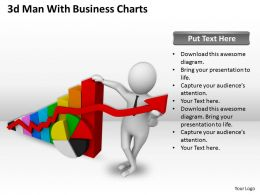 1013 3d Man With Business Charts Ppt Graphics Icons Powerpoint