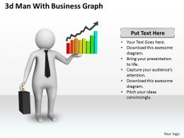 1013 3d Man With Business Graph Ppt Graphics Icons Powerpoint