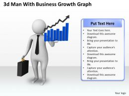 1013 3d Man With Business Growth Graph Ppt Graphics Icons Powerpoint