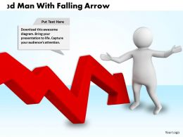 1013 3d Man With Falling Arrow Ppt Graphics Icons Powerpoint