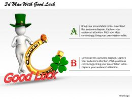 1013 3d Man With Good Luck Ppt Graphics Icons Powerpoint