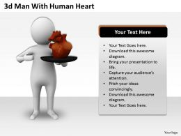1013 3d Man With Human Heart Ppt Graphics Icons Powerpoint